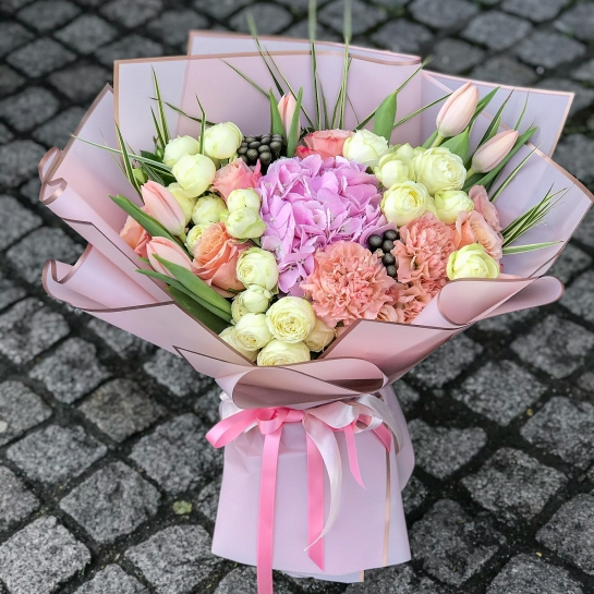 Bouquet  №1503 with hydrangea and tulips