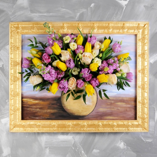 Картина из живых цветов