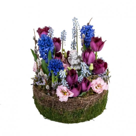 Композиция с гиацинтом и тюльпанами
